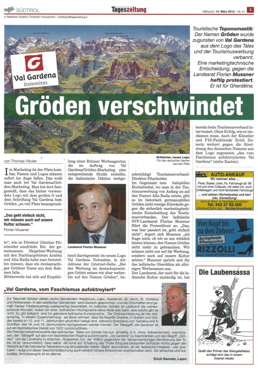 Tageszeitung Artikel