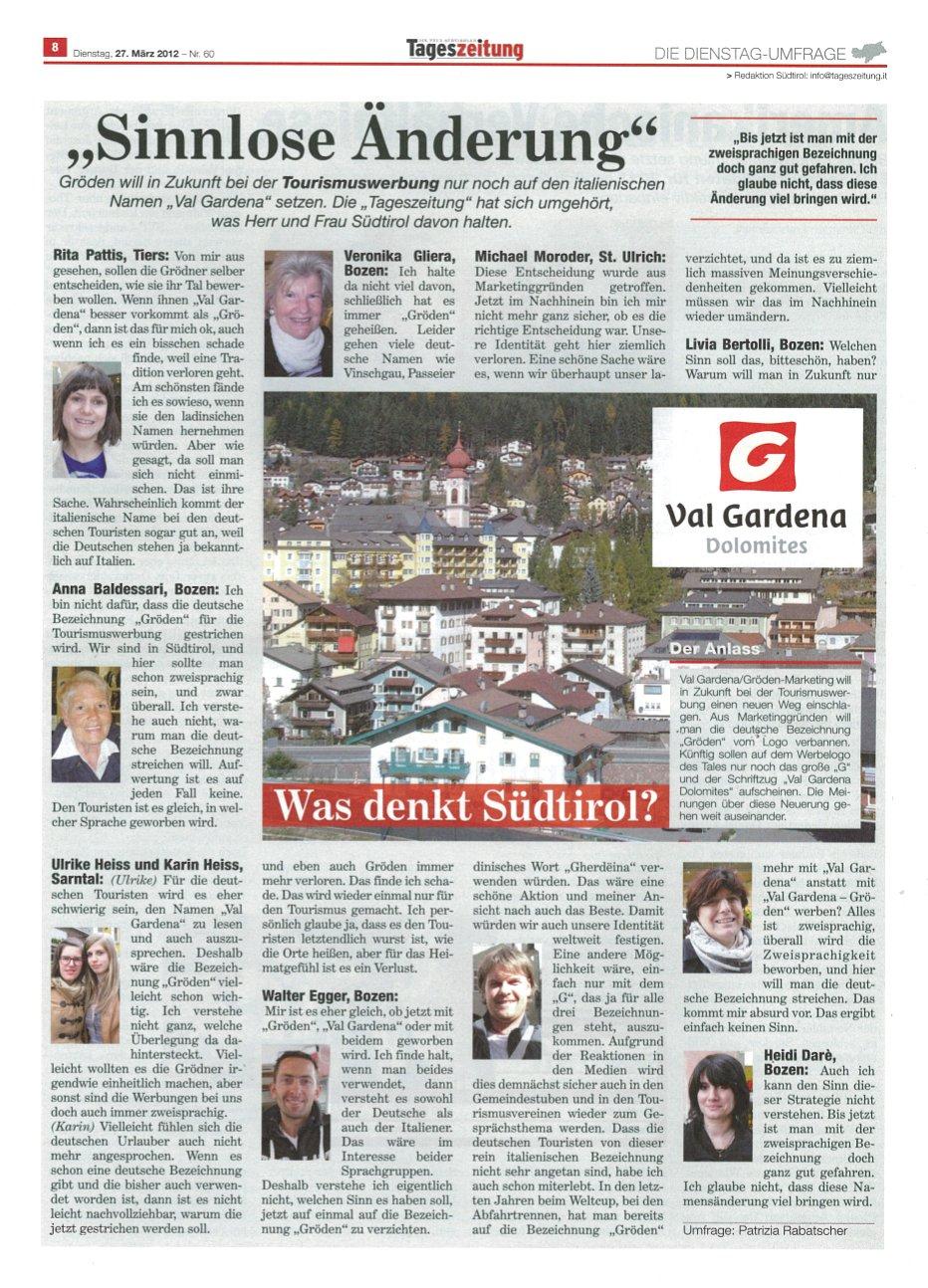 """Sinnlose Änderung in """"Val Gardena"""" – Proteste weiten sich aus!"""
