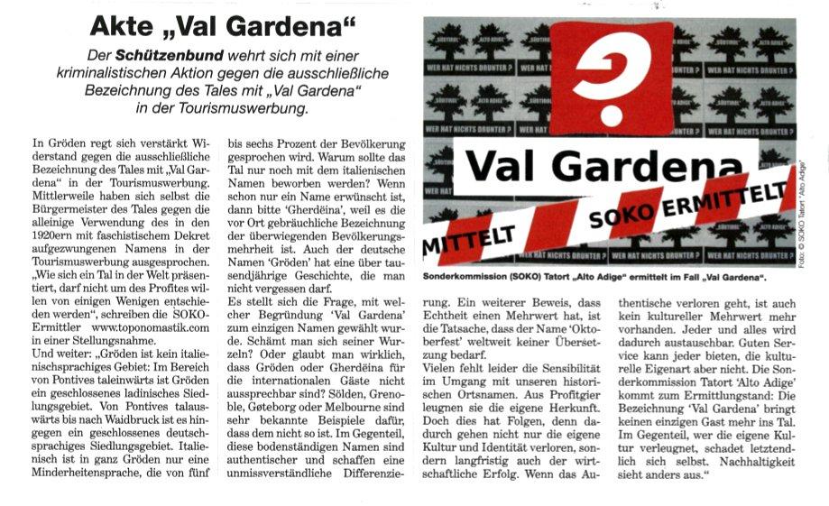 """NSTZ berichtet über die SOKO Ermittlungen im Fall """"Val Gardena"""""""