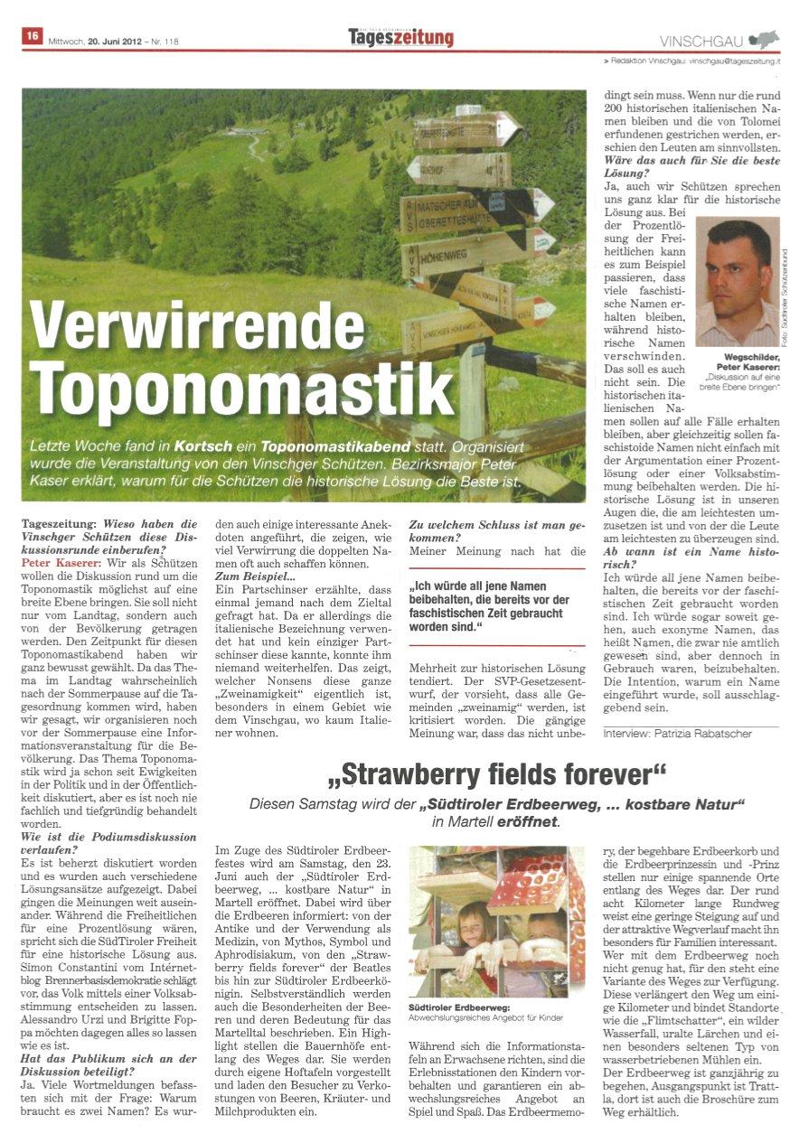 Tageszeitung im Gespräch mit SOKO-Ermittler – Verwirrende Toponomastik