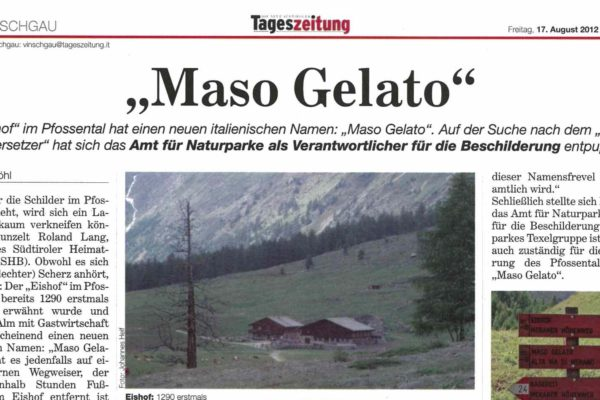 """Maso Gelato"" im Pfossental"