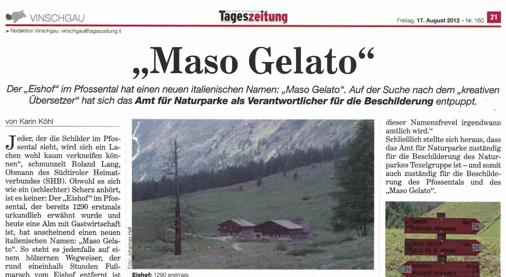 """Tageszeitung – Amt für Naturparke spielt Tolomei – """"Maso Gelato"""""""
