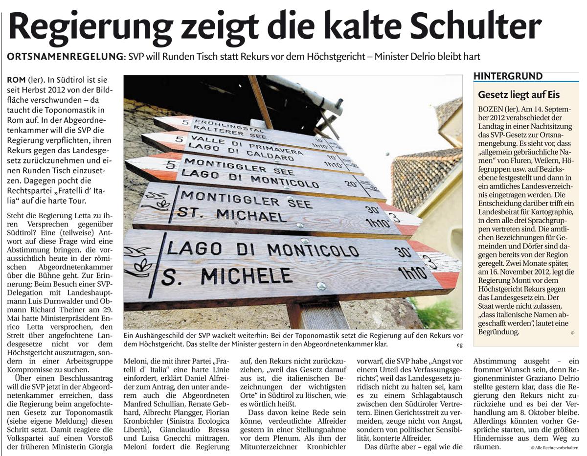 Presse Echo zum Toponomastik-Gesetz: Regierung fechtet Landesgesetz an