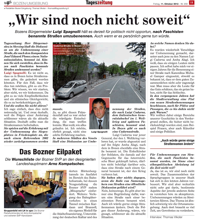 Wann seid ihr endlich soweit? Bozner Bürgermeister hält an faschistischen Straßennamen fest